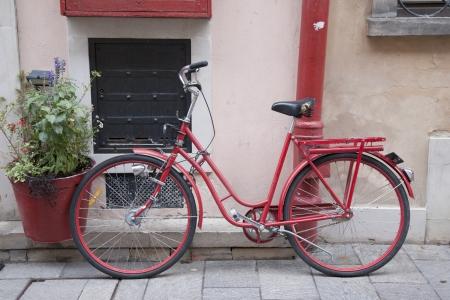 stare miasto: Red Bicycle in Stare Miasto Neighbourhood; Warsaw; Poland Stock Photo