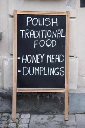 stare miasto: Polish Traditional Food Sign, Warsaw, Poland Stock Photo