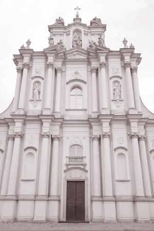krakowskie przedmiescie: Visitationist Church, Krakowskie Przedmiescie Street, Warsaw, Poland in Black and White Sepia Tone