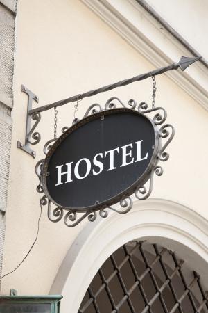 Hostel Sign in European City