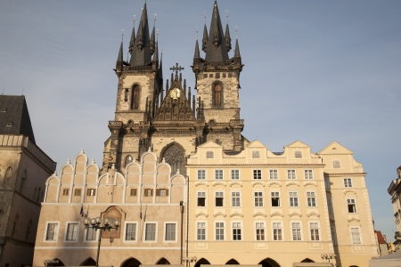 tyn: Old Town Square with the Church of Our Lady before Tyn, Prague; Czech Republic; Europe Stock Photo