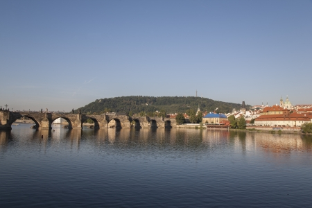 vltava: River Vltava and Charles Bridge in Prague, Czech Republic