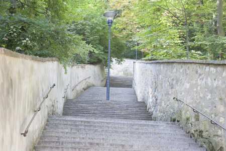 Stairs and Footpath with Lamppost in Petrin Hill Park, Prague, Czech Republic photo