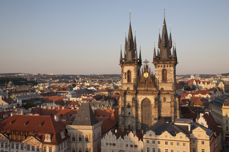 tyn: Church of Our Lady Before Tyn and Cityscape of Prague, Czech Republic, Europe Stock Photo