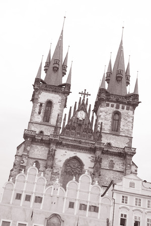 tyn: Church of Our Lady Before Tyn, Prague, Czech Republic, Europe in Black and White Sepia Tone