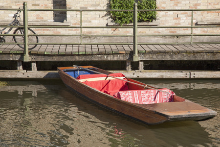 punt: Punt Boat on River Cam, Cambridge; England Stock Photo