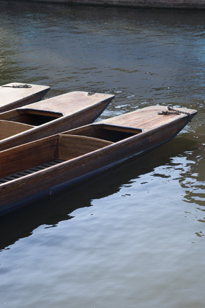 punt: Punt Boats on River Cam, Cambridge; England Stock Photo