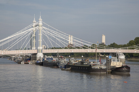 chelsea: Albert Bridge; Chelsea; London; England; UK Stock Photo