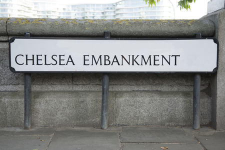 chelsea: Chelsea Embankment Street Sign; London; England; UK