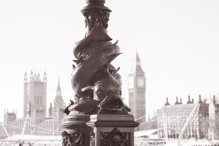 lampost: Lampost with Big Ben and the Houses of Parliament, Westminster, London, England, UK in Black and White Sepia Tone