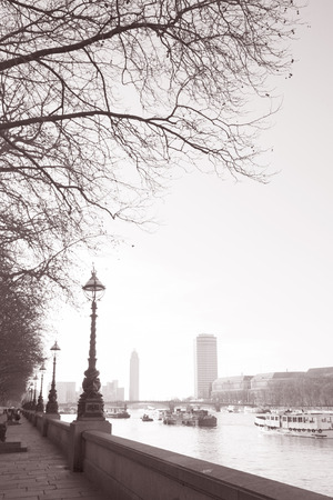 Westminster Embankment, London, England, UK in Black and White Sepia Tone photo