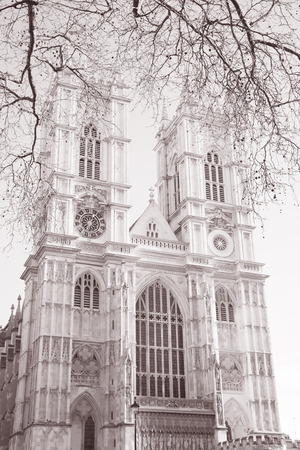 Westminster Abbey, London; England; UK in Black and White Sepia Tone photo