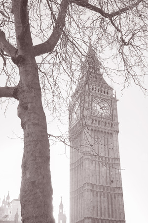 Big Ben and the Houses of Parliament, Westminster, London, England, UK in Black and White Sepia Tone  photo