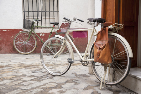 Bikes in Street in the Santa Cruz Neighbourhood of Seville - Sevilla, Spain