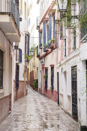 Typical Street in Santa Cruz Neighborhood; Seville; Spain Фото со стока - 29981554