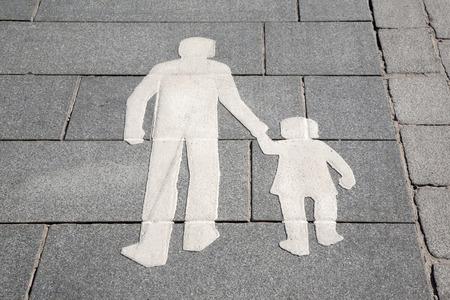 pedestrian sign: Pedestrian Sign on Street in Helsinki, Finland Archivio Fotografico