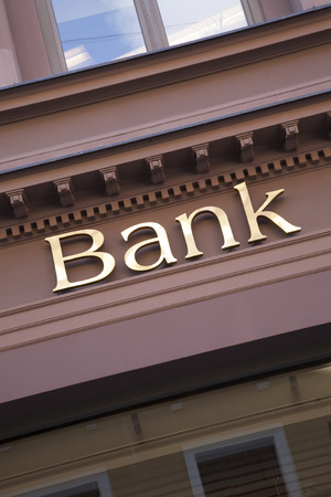 bank branch: Bank Sign on Diagonal Tilt Stock Photo