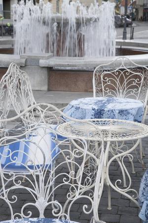 vilnius: Cafe Table and Chair, Traku Street; Vilnius; Lithuania
