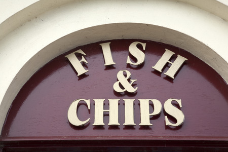 food fish: Fish and Chip Shop Sign Stock Photo