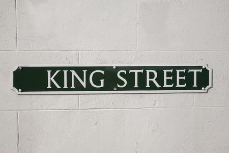 king street: King Street Road Sign on Diagonal Slant