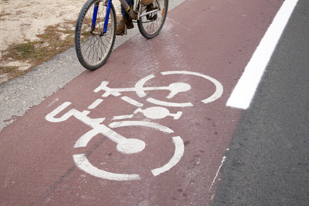 formentera: Cycle Lane and Cyclist, Formentera, Balearic Islands, Spain Stock Photo
