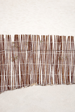 formentera: Wooden Fence on Beach on Formentera, Balearic Islands, Spain Stock Photo