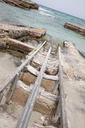 es: Fishing Boat Ramps, Es Calo, Formentera, Balearic Islands, Spain Stock Photo