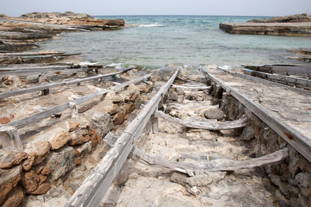 formentera: Fishing Boat Ramps, Es Calo, Formentera, Balearic Islands, Spain Stock Photo