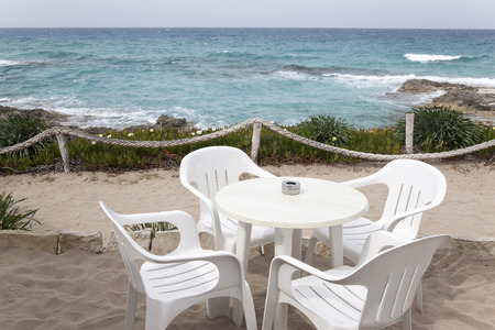 balearic: Cafe Table and Chairs, Formentera, Balearic Islands, Spain