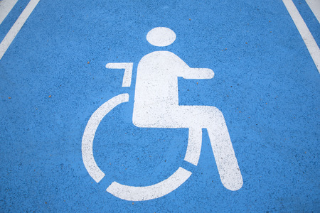 disabled parking sign: Blue and White Disabled Parking Sign