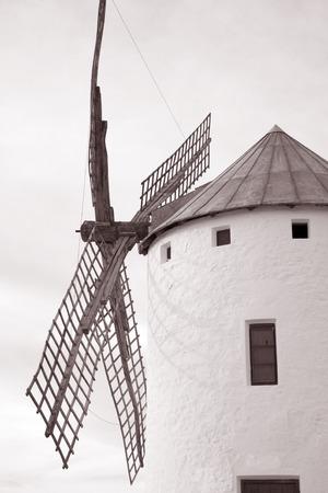 mancha: Windmill; Campo de Criptana; Castilla La Mancha; Spain in Black and White Sepia Tone Stock Photo