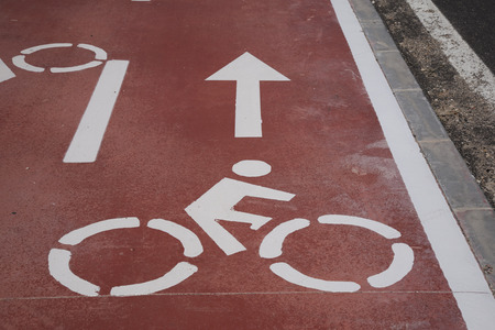 Bike Lane Symbol In Urban Setting Stock Photo Picture And Royalty