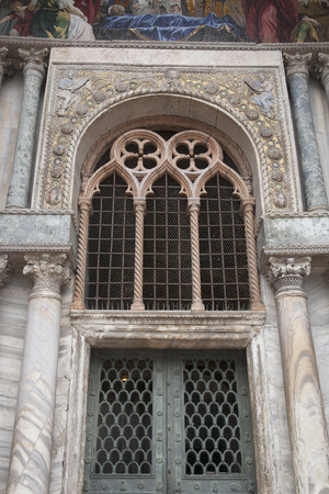 marcos: Detail on Facade of San Marcos - St Marks Cathedral Church, Venice; Italy;