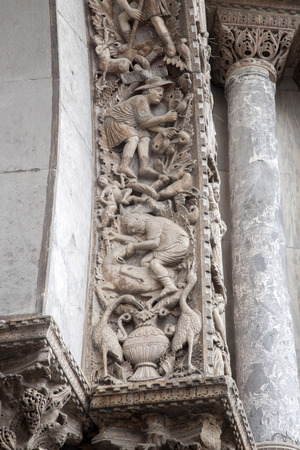 marcos: Detail of Sculpture on Facade San Marcos Cathedral, Venice, Italy