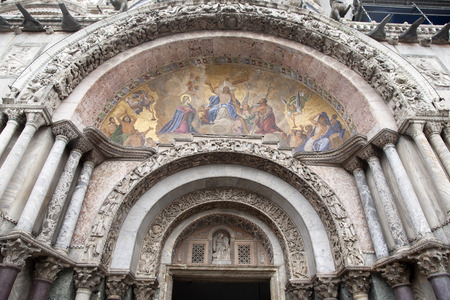 st  mark's: Detail on Facade of San Marcos - St Marks Cathedral Church, Venice; Italy;