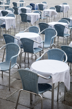 st marks square: Cafe Tables and Chairs in San Marcos - St Marks Square; Venice; Italy