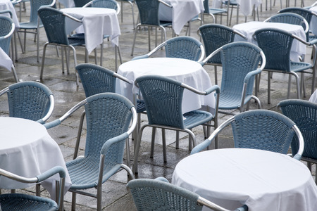 marcos: Cafe Tables and Chairs in San Marcos - St Marks Square; Venice; Italy