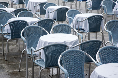 st  mark's square: Cafe Tables and Chairs in San Marcos - St Marks Square; Venice; Italy