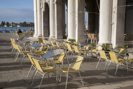 st marks square: Cafe Table and Chairs in St Marks Square; Venice; Italy