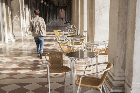 st mark's square: Cafe Table and Chairs in St Marks Square; Venice; Italy