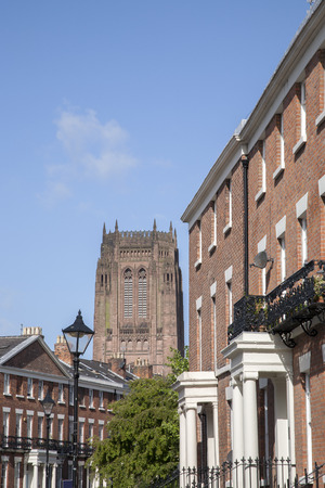 anglican: Anglican Cathedral and Local Streets, Liverpool, England, UK