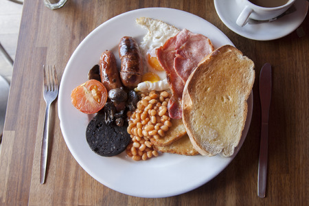 english food: Typical English Breakfast Served with Tea