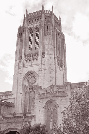 anglican: Anglican Cathedral Church; Liverpool; England; UK in Black and White Sepia Tone Stock Photo