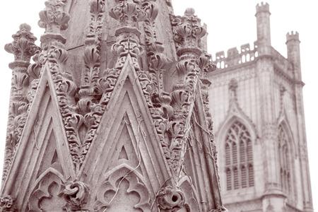 church ruins: Detail on St Lukes Church Ruins, Liverpool, England in Black and White Sepia Tone