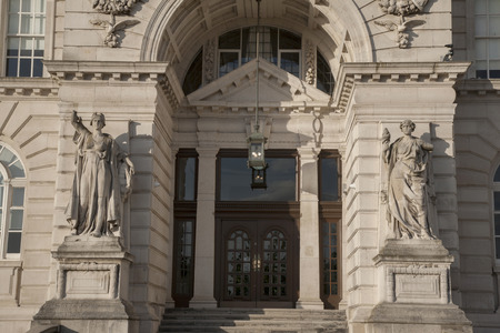 liverpool: Entrance of Port Building, Pier Head, Liverpool, England, UK