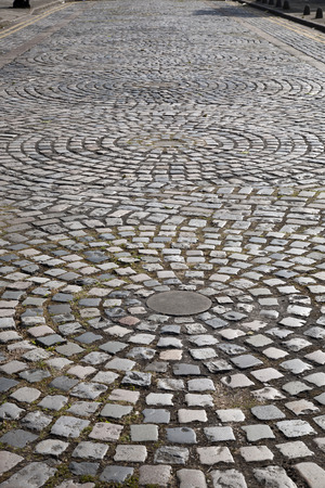cobbled: Cobbled Stones in Street, Liverpool; England; UK Stock Photo