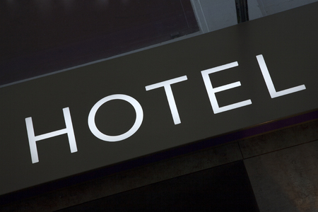 accommodation space: Hotel Sign on Diagonal Tilt