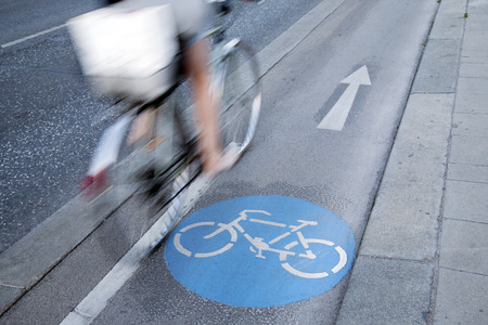 Cyclist on Bike Lane, Vienna, Austria
