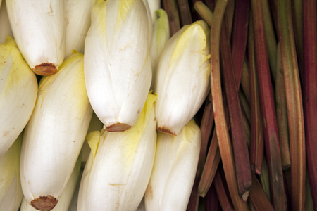 endive: Endive and Rhubarb Background on Market Stall
