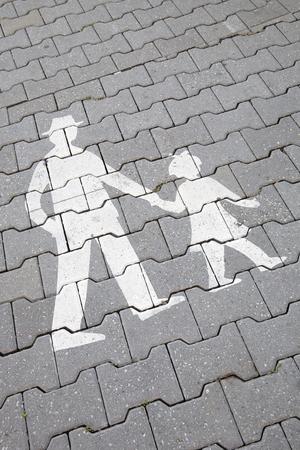 pedestrian sign: Family Pedestrian Sign on Pavement